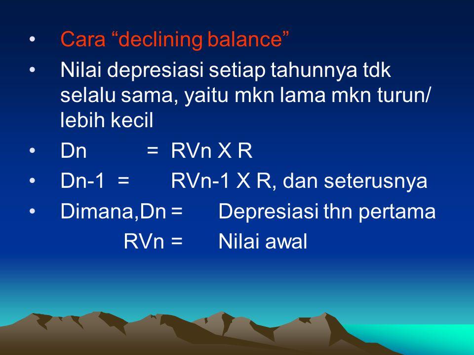 """Cara """"declining balance"""" Nilai depresiasi setiap tahunnya tdk selalu sama, yaitu mkn lama mkn turun/ lebih kecil Dn =RVn X R Dn-1 =RVn-1 X R, dan sete"""