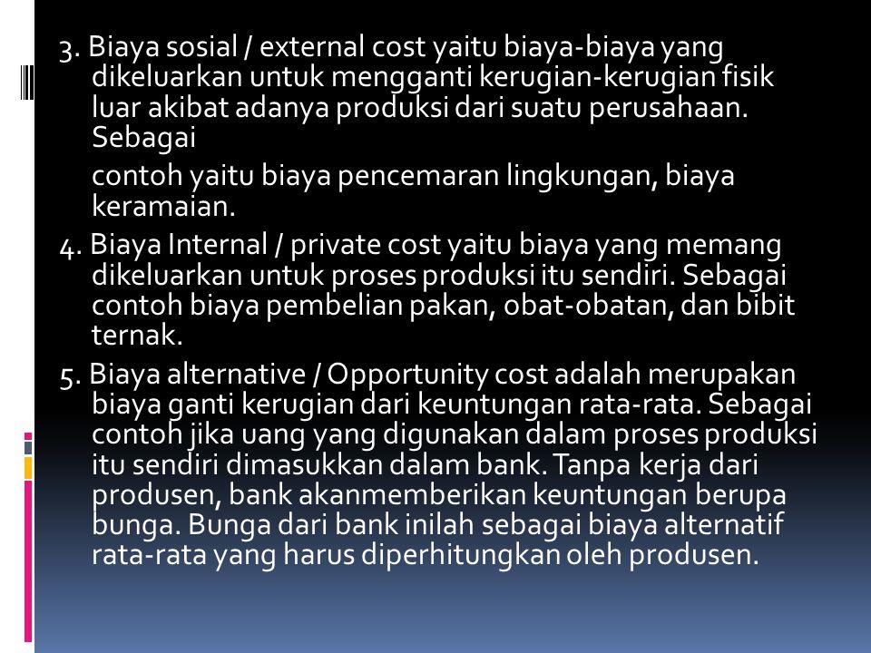 3. Biaya sosial / external cost yaitu biaya-biaya yang dikeluarkan untuk mengganti kerugian-kerugian fisik luar akibat adanya produksi dari suatu peru