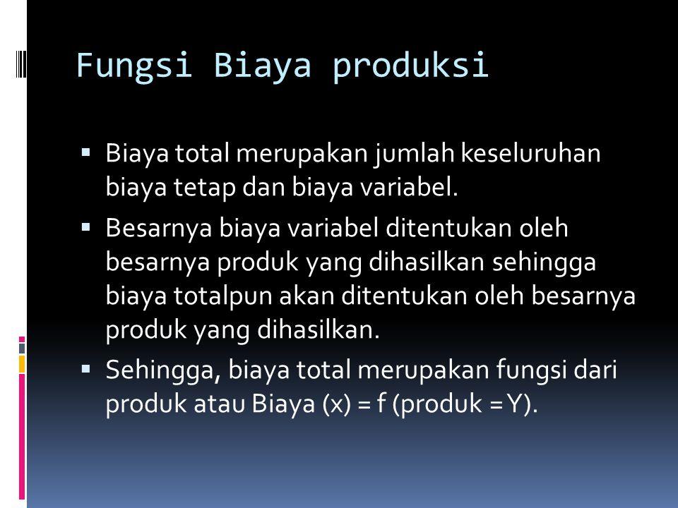 Sebagai fungsi biaya total dapat dipakai : 1.Fungsi linier sederhana : X = a + bY 2.