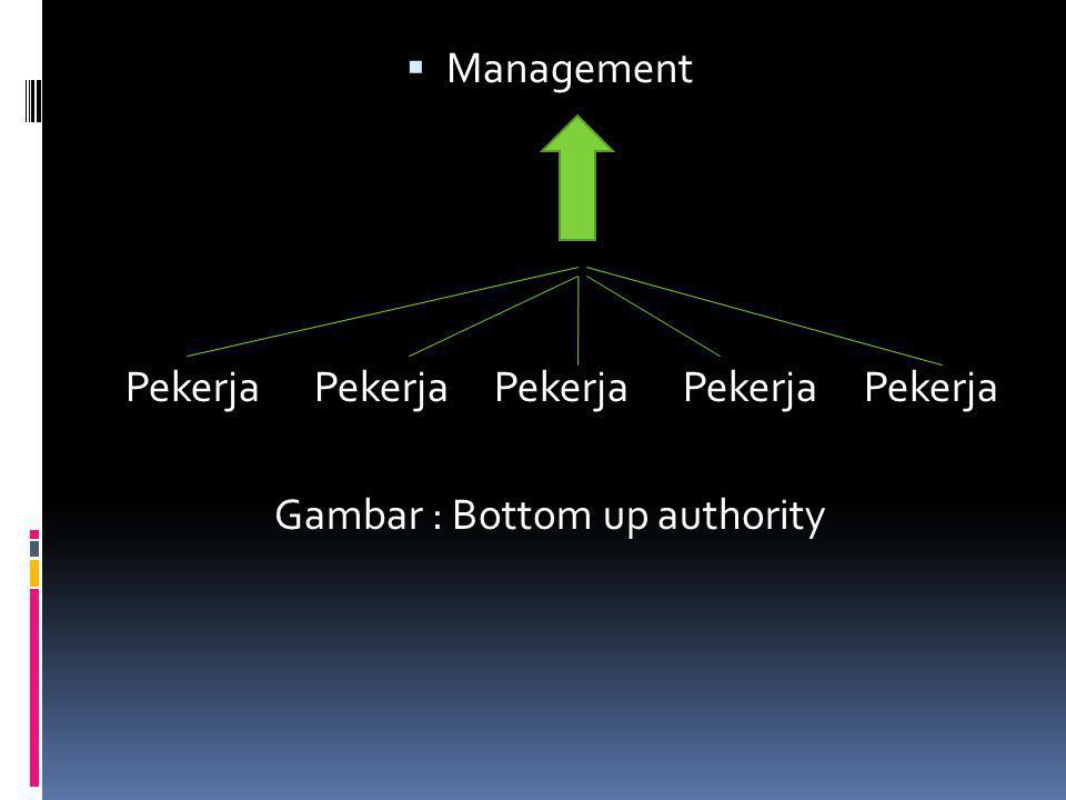  Management Pekerja Pekerja Pekerja Pekerja Pekerja Gambar : Bottom up authority