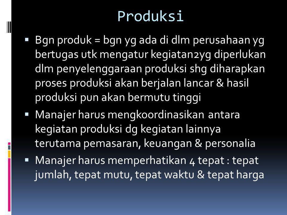 Produksi  Bgn produk = bgn yg ada di dlm perusahaan yg bertugas utk mengatur kegiatan2yg diperlukan dlm penyelenggaraan produksi shg diharapkan prose