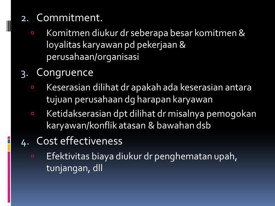 2. Commitment.  Komitmen diukur dr seberapa besar komitmen & loyalitas karyawan pd pekerjaan & perusahaan/organisasi 3. Congruence  Keserasian dilih
