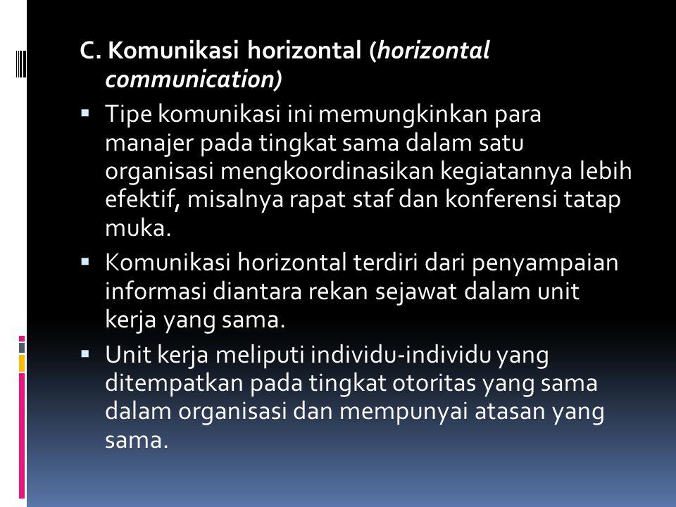 C. Komunikasi horizontal (horizontal communication)  Tipe komunikasi ini memungkinkan para manajer pada tingkat sama dalam satu organisasi mengkoordi