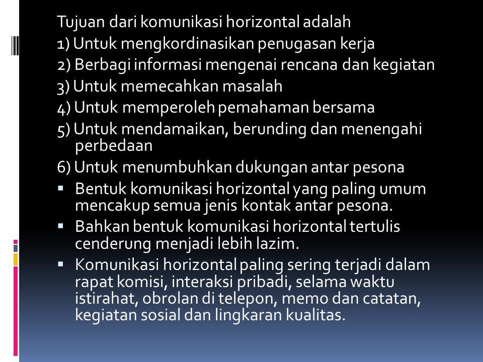 Tujuan dari komunikasi horizontal adalah 1) Untuk mengkordinasikan penugasan kerja 2) Berbagi informasi mengenai rencana dan kegiatan 3) Untuk memecah