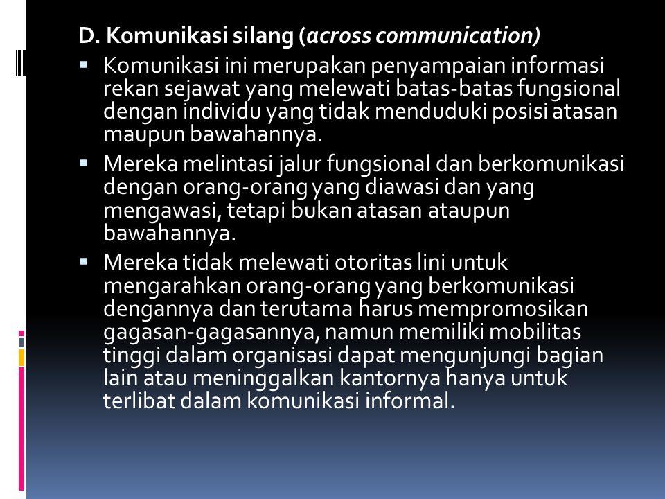 D. Komunikasi silang (across communication)  Komunikasi ini merupakan penyampaian informasi rekan sejawat yang melewati batas-batas fungsional dengan