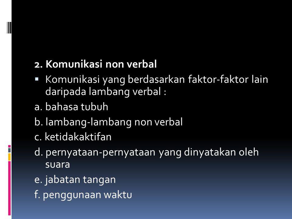 2. Komunikasi non verbal  Komunikasi yang berdasarkan faktor-faktor lain daripada lambang verbal : a. bahasa tubuh b. lambang-lambang non verbal c. k