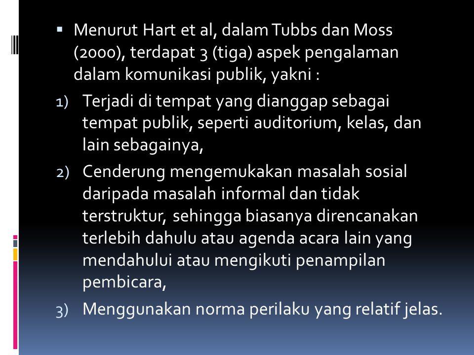  Menurut Hart et al, dalam Tubbs dan Moss (2000), terdapat 3 (tiga) aspek pengalaman dalam komunikasi publik, yakni : 1) Terjadi di tempat yang diang