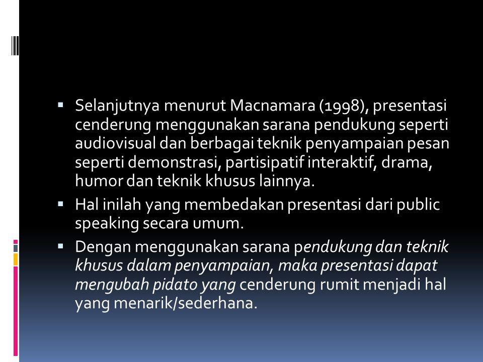  Selanjutnya menurut Macnamara (1998), presentasi cenderung menggunakan sarana pendukung seperti audiovisual dan berbagai teknik penyampaian pesan se