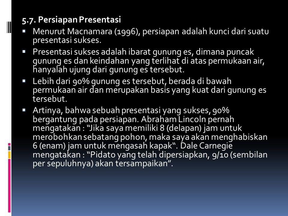 5.7. Persiapan Presentasi  Menurut Macnamara (1996), persiapan adalah kunci dari suatu presentasi sukses.  Presentasi sukses adalah ibarat gunung es