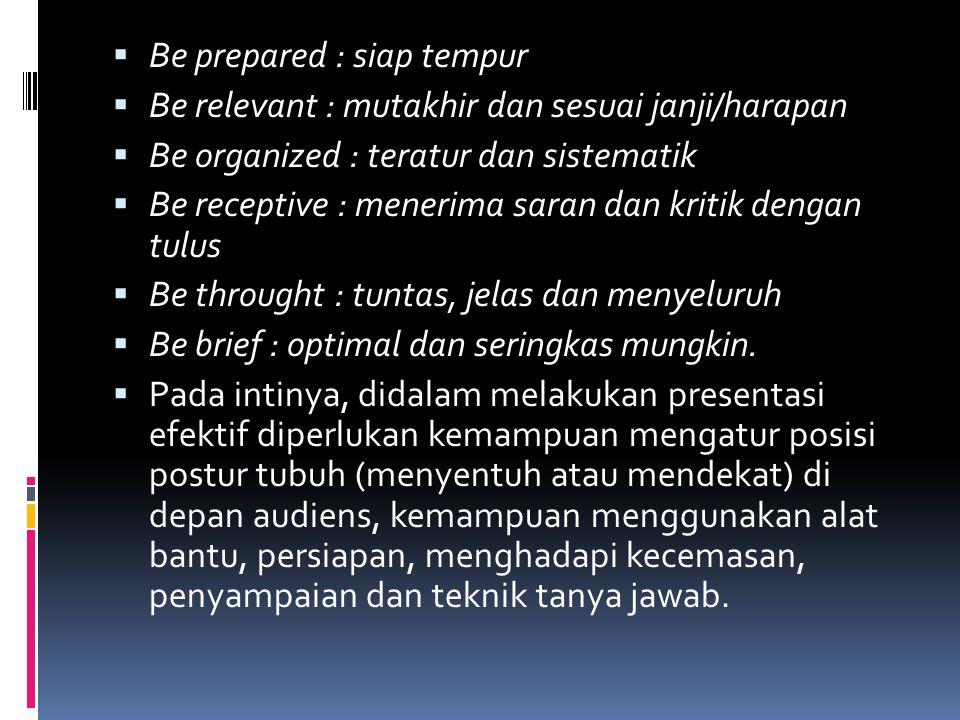  Be prepared : siap tempur  Be relevant : mutakhir dan sesuai janji/harapan  Be organized : teratur dan sistematik  Be receptive : menerima saran