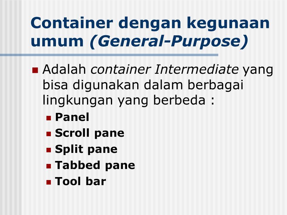 Container dengan kegunaan umum (General-Purpose) Adalah container Intermediate yang bisa digunakan dalam berbagai lingkungan yang berbeda : Panel Scro