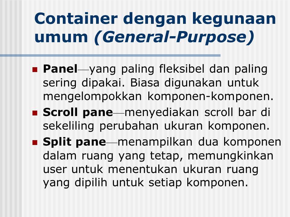 Container dengan kegunaan umum (General-Purpose) Panel — yang paling fleksibel dan paling sering dipakai. Biasa digunakan untuk mengelompokkan kompone
