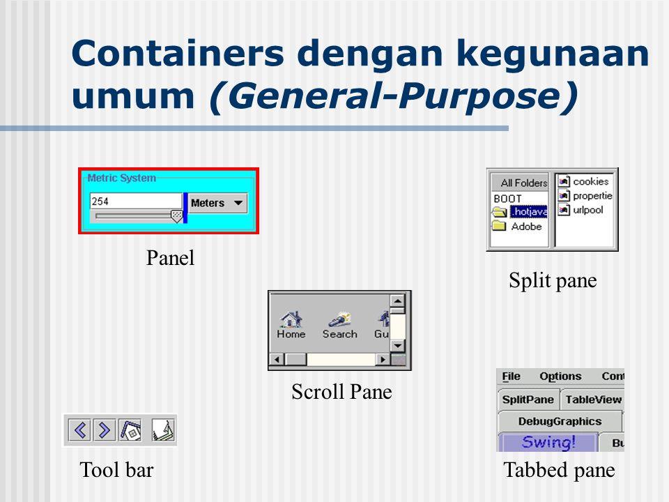 Containers dengan kegunaan umum (General-Purpose) Panel Scroll Pane Tool bar Split pane Tabbed pane