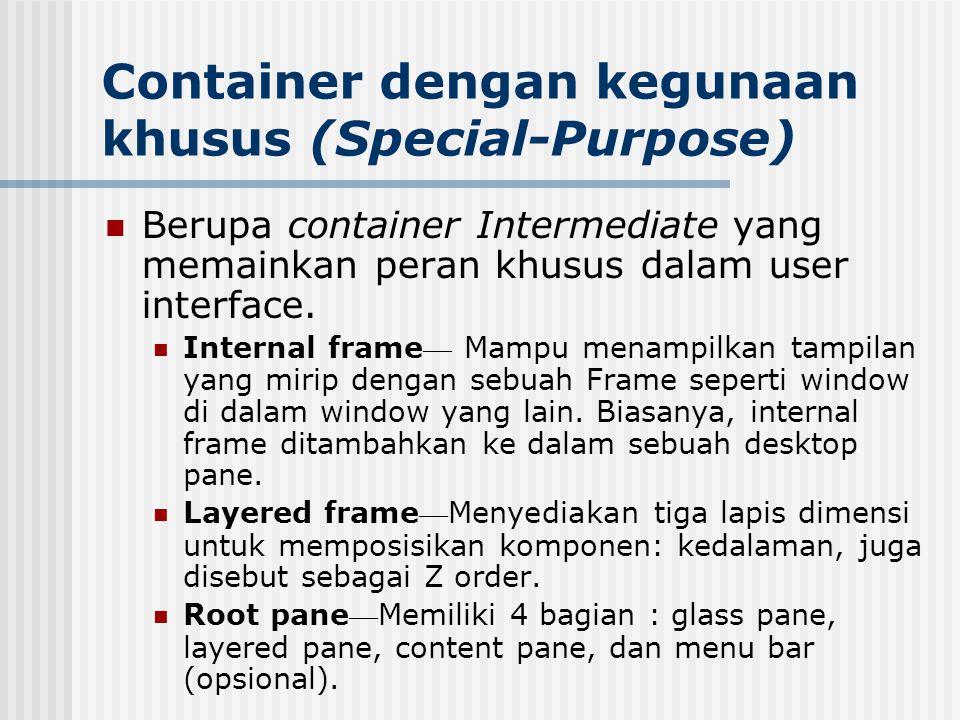 Container dengan kegunaan khusus (Special-Purpose) Berupa container Intermediate yang memainkan peran khusus dalam user interface. Internal frame — Ma