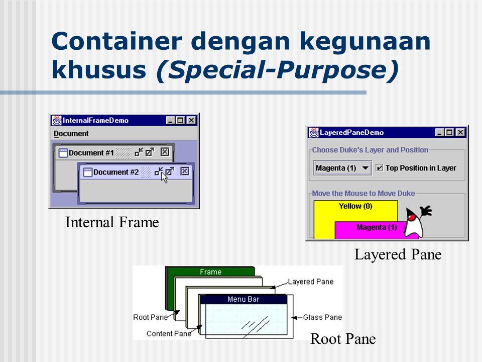 Container dengan kegunaan khusus (Special-Purpose) Internal Frame Layered Pane Root Pane