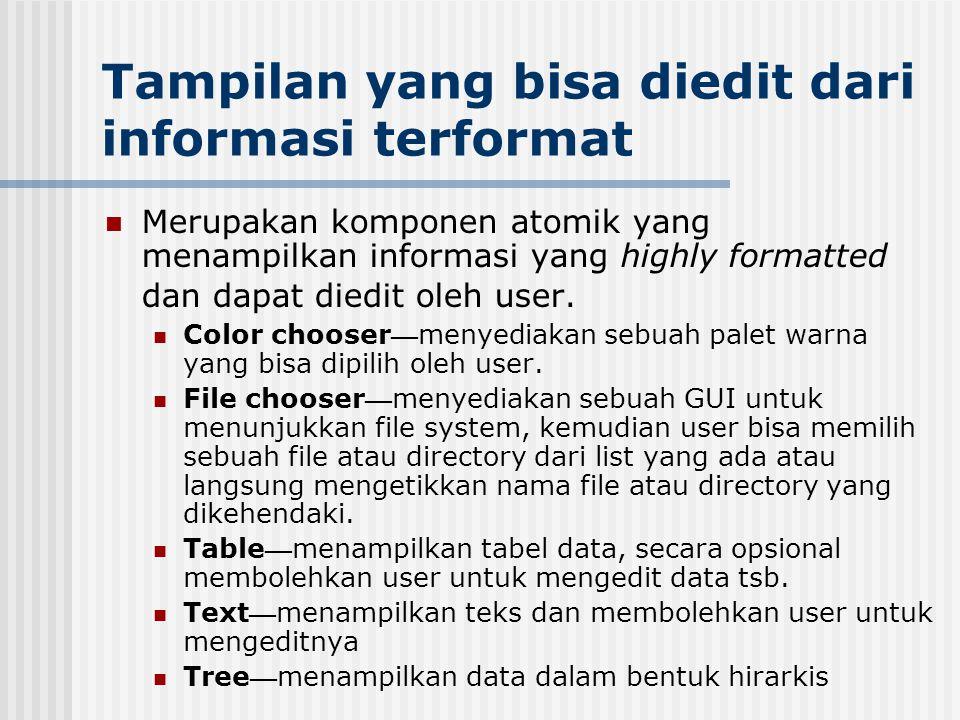 Tampilan yang bisa diedit dari informasi terformat Merupakan komponen atomik yang menampilkan informasi yang highly formatted dan dapat diedit oleh us