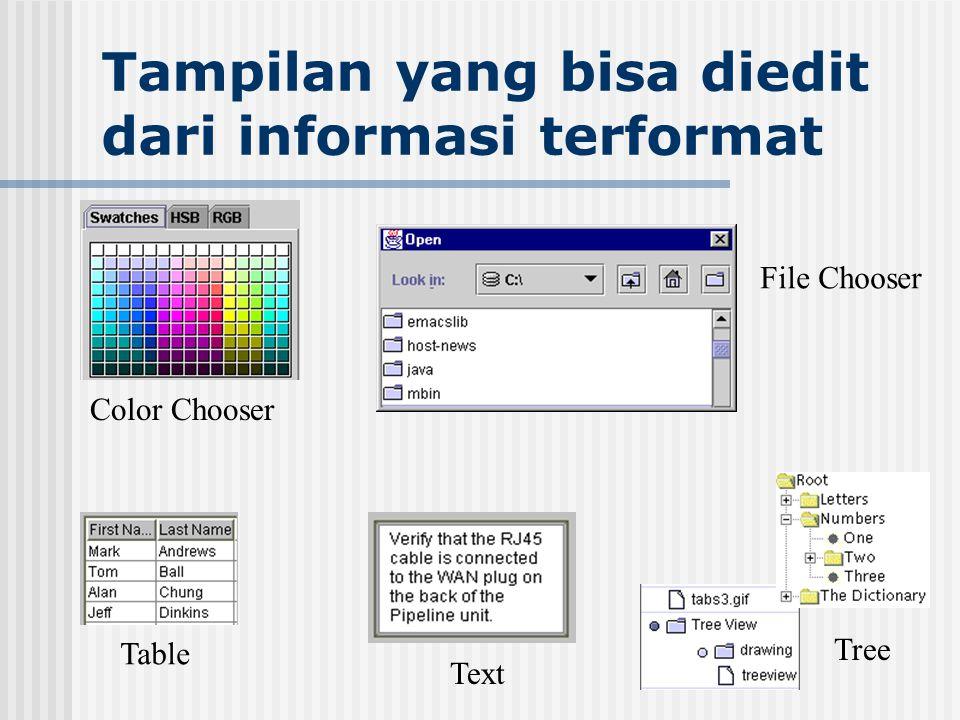Tampilan yang bisa diedit dari informasi terformat File Chooser Color Chooser Table Text Tree