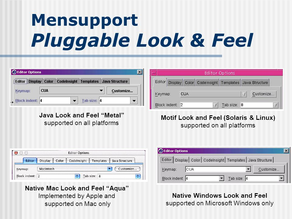 Mensupport Pluggable Look & Feel Native Windows Look and Feel supported on Microsoft Windows only Native Mac Look and Feel Aqua Implemented by Apple and supported on Mac only Java Look and Feel Metal supported on all platforms Motif Look and Feel (Solaris & Linux) supported on all platforms