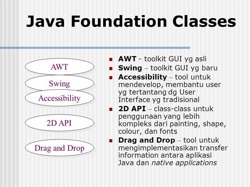 Java Foundation Classes AWT - toolkit GUI yg asli Swing – toolkit GUI yg baru Accessibility – tool untuk mendevelop, membantu user yg tertantang dg Us