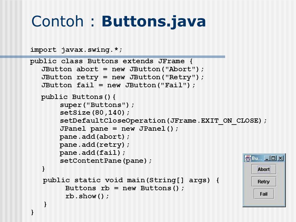 Contoh : Buttons.java import javax.swing.*; public class Buttons extends JFrame { JButton abort = new JButton(