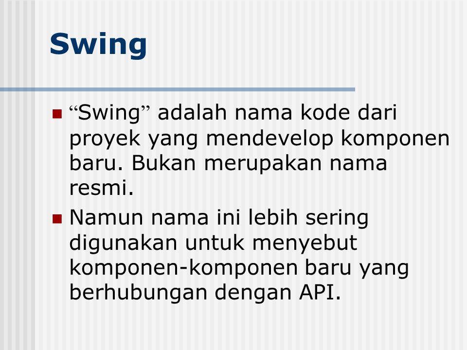 """Swing """" Swing """" adalah nama kode dari proyek yang mendevelop komponen baru. Bukan merupakan nama resmi. Namun nama ini lebih sering digunakan untuk me"""