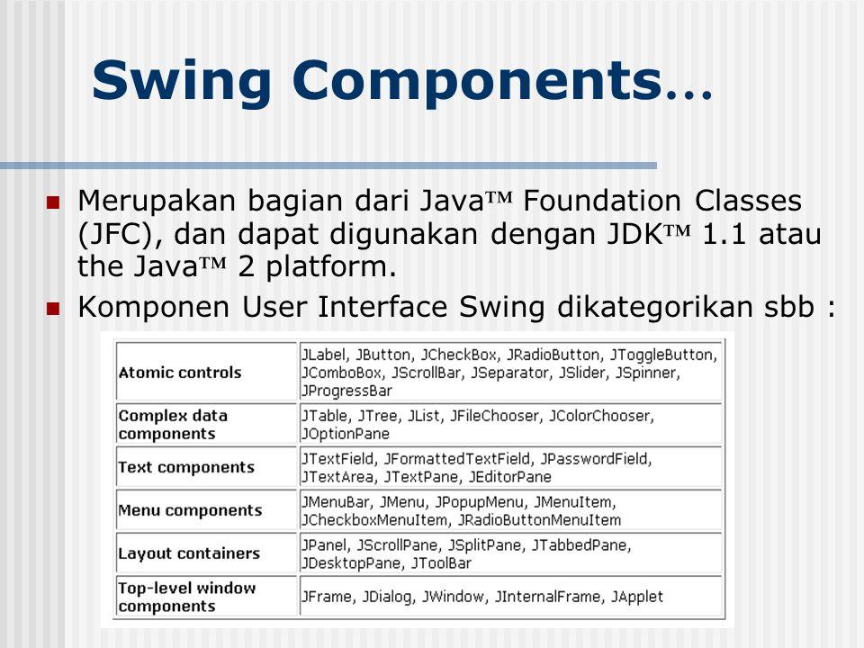 Swing Components … Merupakan bagian dari Java ™ Foundation Classes (JFC), dan dapat digunakan dengan JDK ™ 1.1 atau the Java ™ 2 platform. Komponen Us