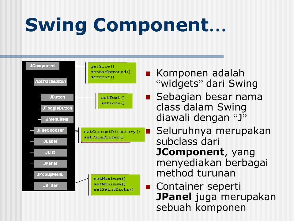 "Swing Component … Komponen adalah "" widgets "" dari Swing Sebagian besar nama class dalam Swing diawali dengan "" J "" Seluruhnya merupakan subclass dari"