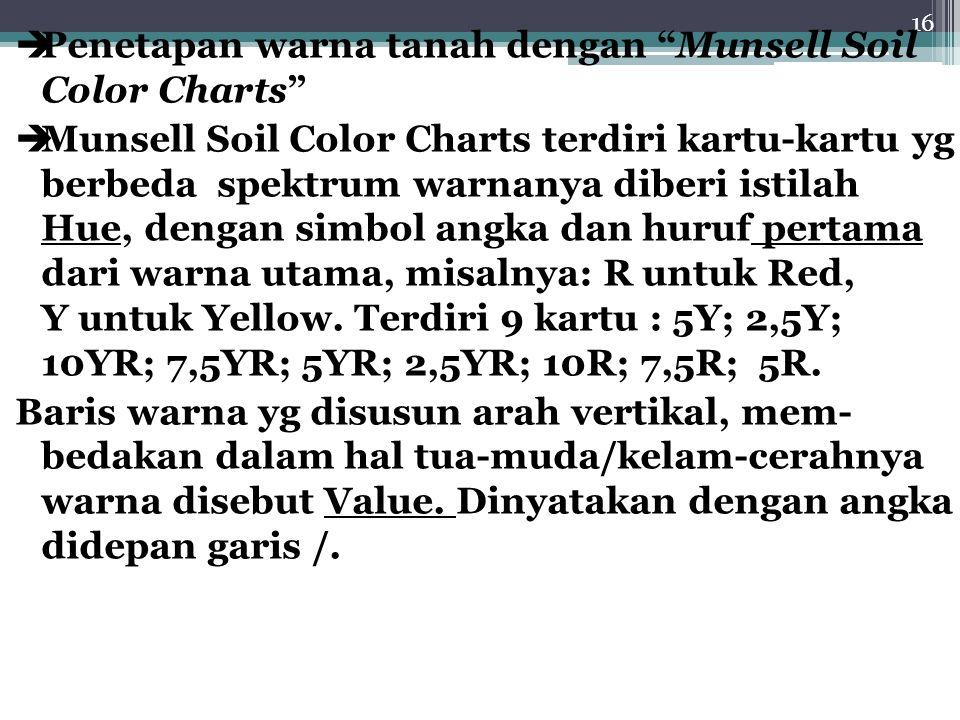 16  Penetapan warna tanah dengan Munsell Soil Color Charts  Munsell Soil Color Charts terdiri kartu-kartu yg berbeda spektrum warnanya diberi istilah Hue, dengan simbol angka dan huruf pertama dari warna utama, misalnya: R untuk Red, Y untuk Yellow.