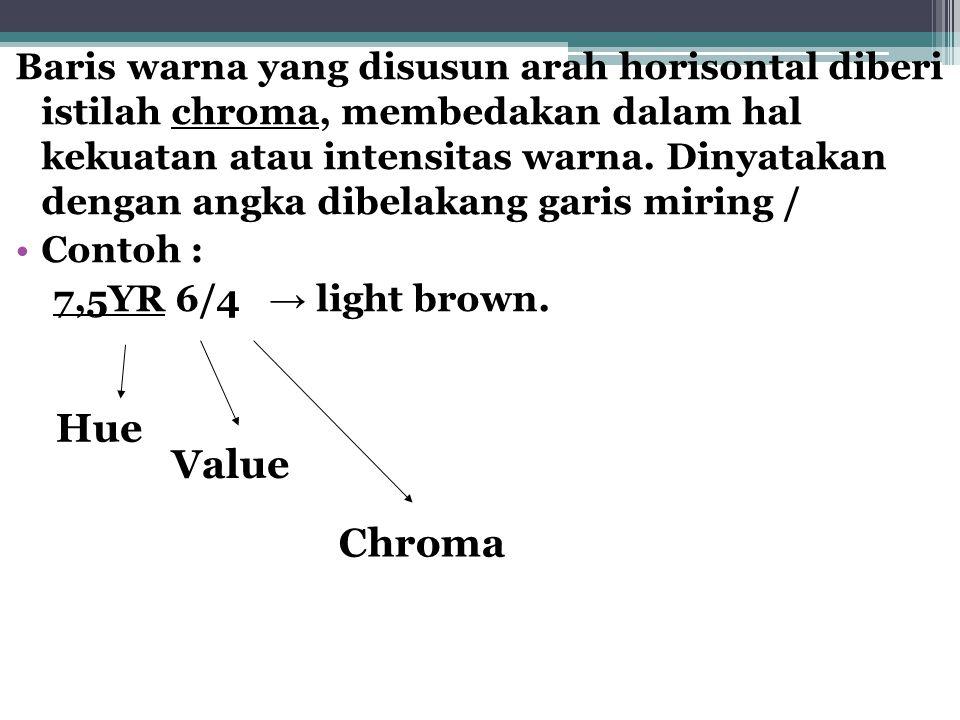Baris warna yang disusun arah horisontal diberi istilah chroma, membedakan dalam hal kekuatan atau intensitas warna.