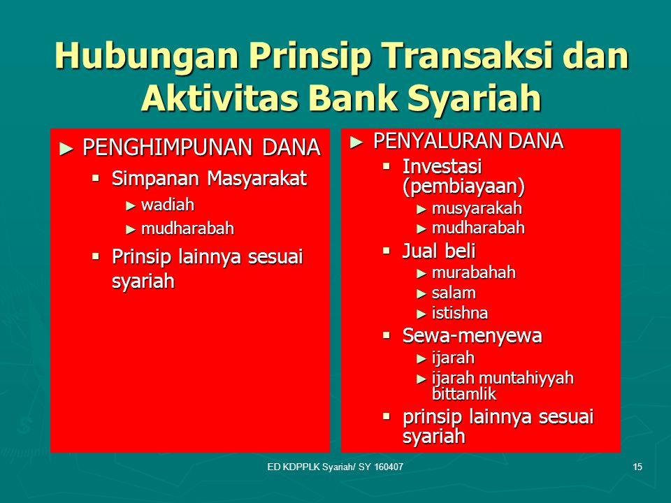 ED KDPPLK Syariah/ SY 16040715 Hubungan Prinsip Transaksi dan Aktivitas Bank Syariah ► PENGHIMPUNAN DANA  Simpanan Masyarakat ► wadiah ► mudharabah 