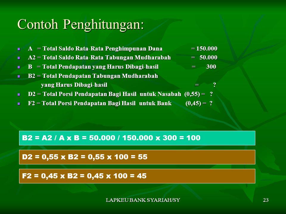 LAPKEU BANK SYARIAH/SY23 Contoh Penghitungan: B2 = A2 / A x B = 50.000 / 150.000 x 300 = 100 A = Total Saldo Rata-Rata Penghimpunan Dana = 150.000 A =