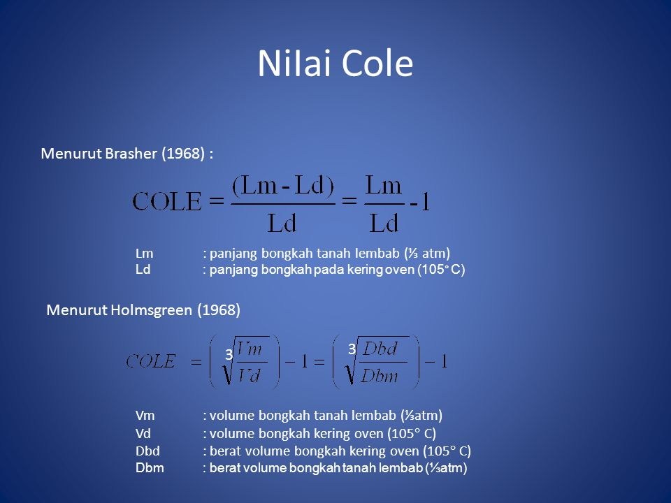 NiIai Cole Menurut Brasher (1968) : Lm : panjang bongkah tanah lembab (⅓ atm) Ld : panjang bongkah pada kering oven (105° C) Menurut Holmsgreen (1968)