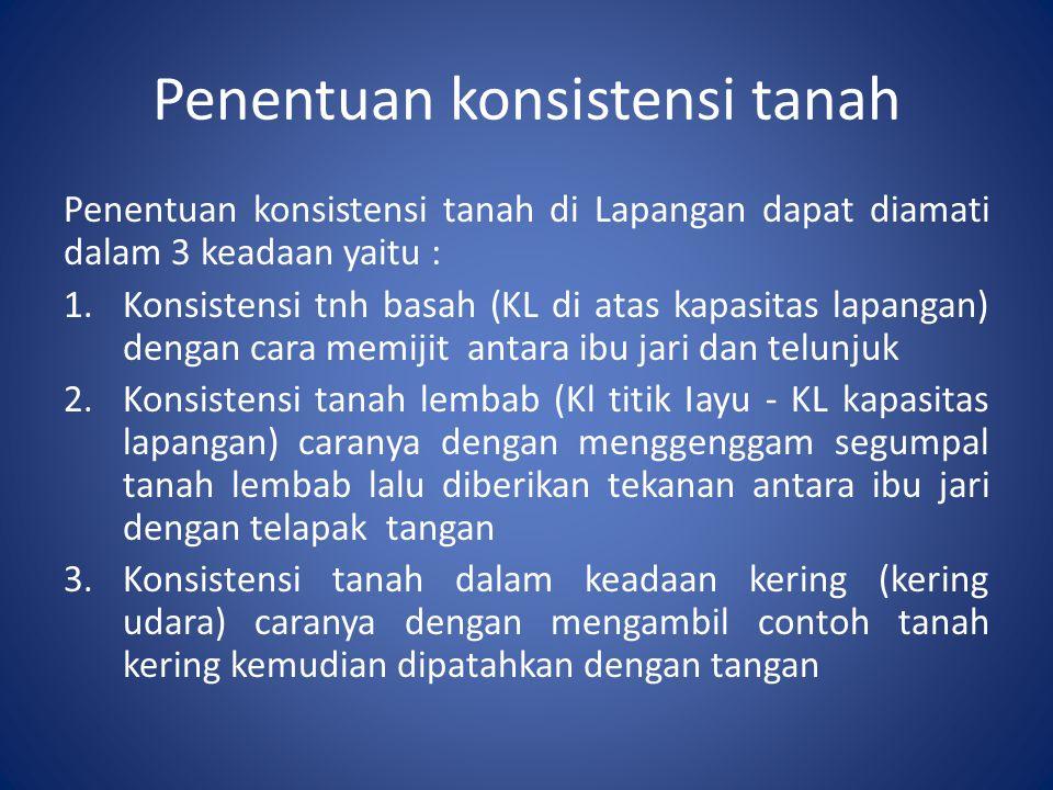 Penentuan konsistensi tanah Penentuan konsistensi tanah di Lapangan dapat diamati dalam 3 keadaan yaitu : 1.Konsistensi tnh basah (KL di atas kapasita