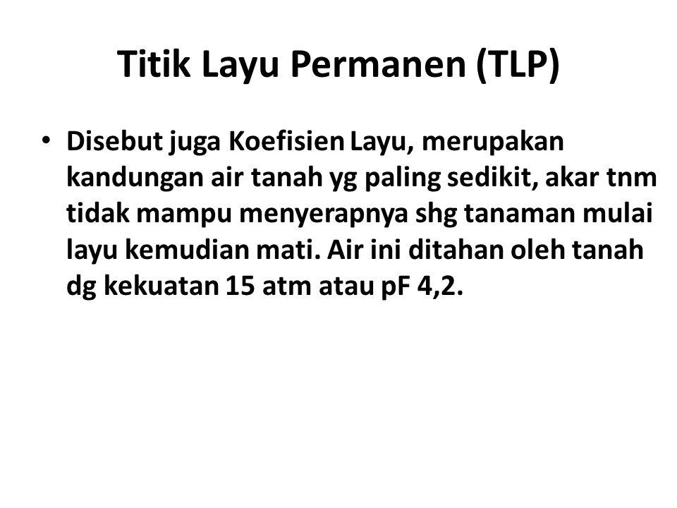 Titik Layu Permanen (TLP) Disebut juga Koefisien Layu, merupakan kandungan air tanah yg paling sedikit, akar tnm tidak mampu menyerapnya shg tanaman m