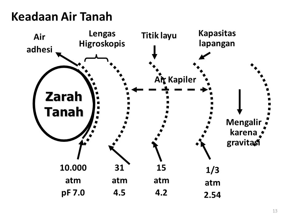 13 Keadaan Air Tanah ZarahTanah Lengas Higroskopis Air Kapiler Titik layu Kapasitas lapangan Mengalir karena gravitasi 10.000 atm pF 7.0 31 atm 4.5 15