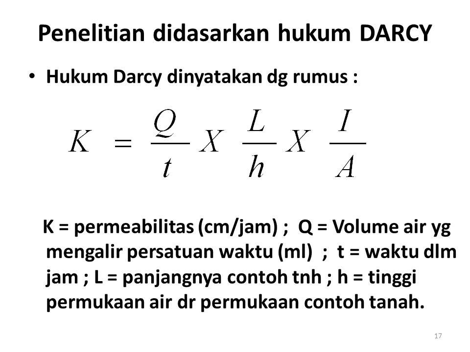 Penelitian didasarkan hukum DARCY Hukum Darcy dinyatakan dg rumus : K = permeabilitas (cm/jam) ; Q = Volume air yg mengalir persatuan waktu (ml) ; t =