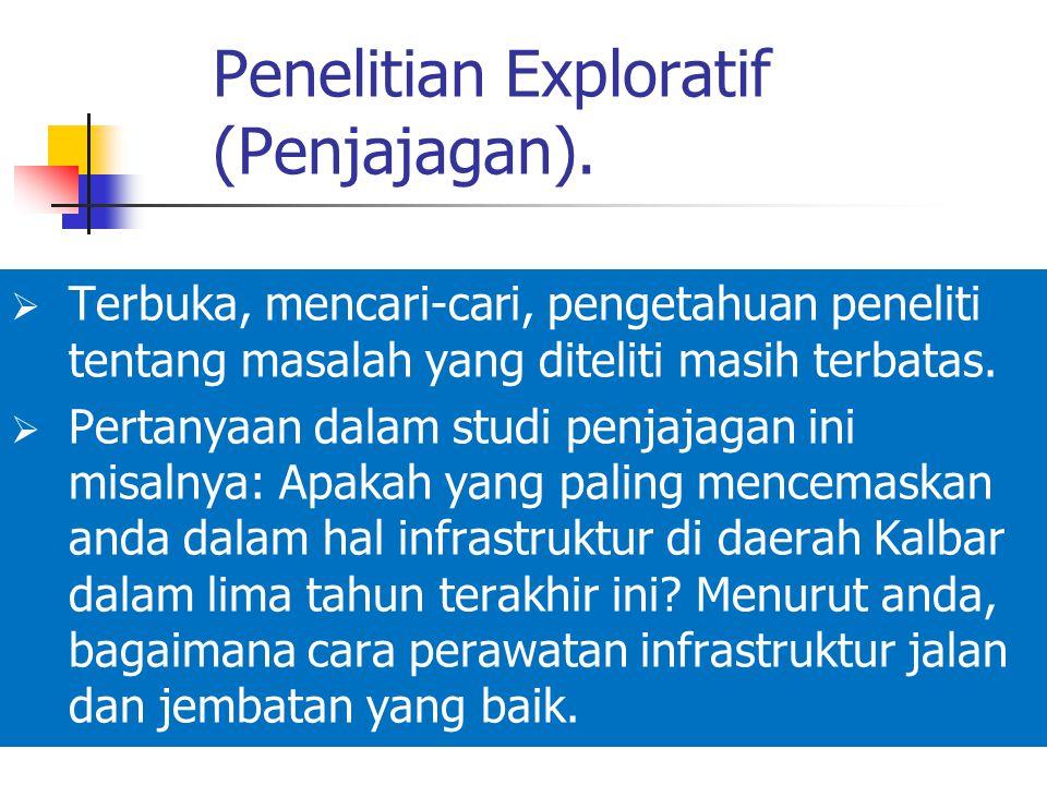 Penelitian Exploratif (Penjajagan).  Terbuka, mencari-cari, pengetahuan peneliti tentang masalah yang diteliti masih terbatas.  Pertanyaan dalam stu