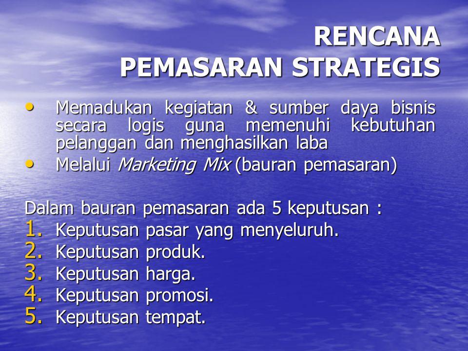 RENCANA PEMASARAN STRATEGIS Memadukan kegiatan & sumber daya bisnis secara logis guna memenuhi kebutuhan pelanggan dan menghasilkan laba Memadukan keg