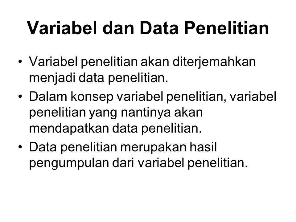 Variabel dan Data Penelitian Variabel penelitian akan diterjemahkan menjadi data penelitian. Dalam konsep variabel penelitian, variabel penelitian yan
