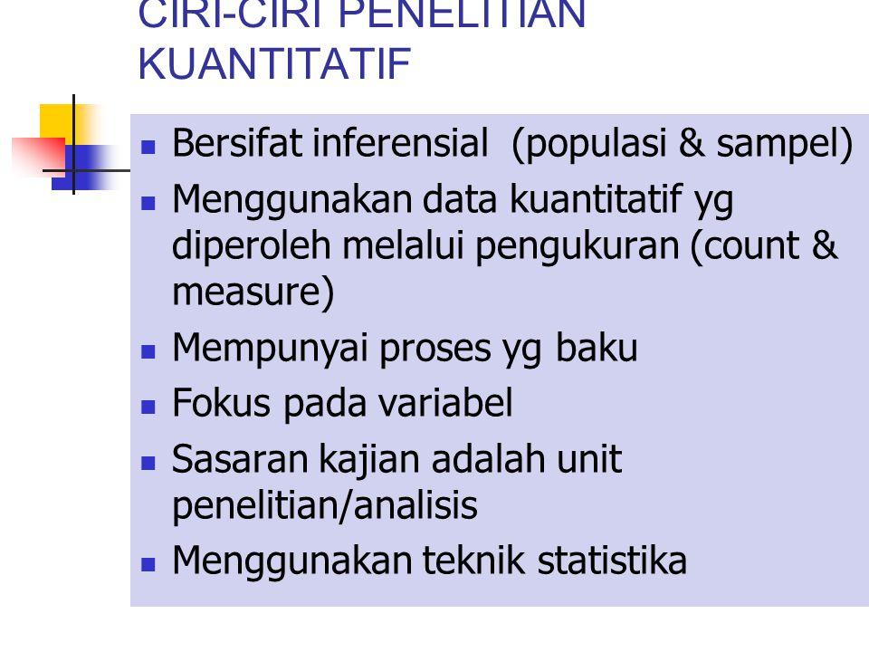 CIRI-CIRI PENELITIAN KUANTITATIF Bersifat inferensial (populasi & sampel) Menggunakan data kuantitatif yg diperoleh melalui pengukuran (count & measure) Mempunyai proses yg baku Fokus pada variabel Sasaran kajian adalah unit penelitian/analisis Menggunakan teknik statistika