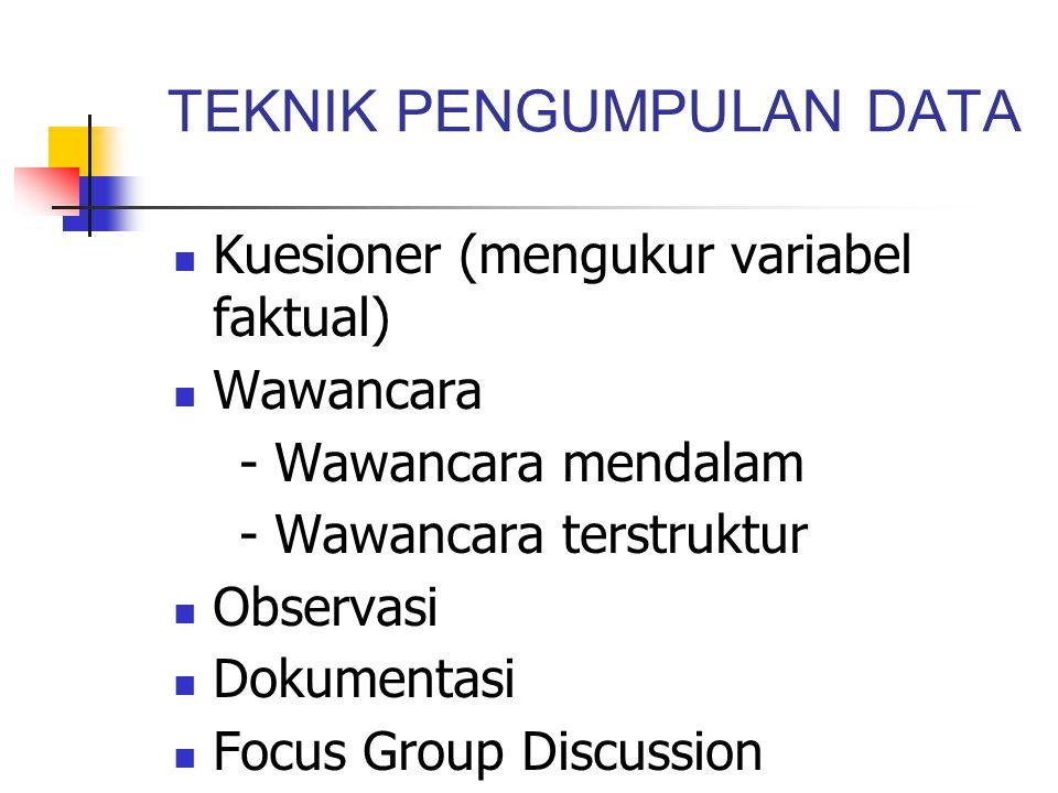 TEKNIK PENGUMPULAN DATA Kuesioner (mengukur variabel faktual) Wawancara - Wawancara mendalam - Wawancara terstruktur Observasi Dokumentasi Focus Group Discussion