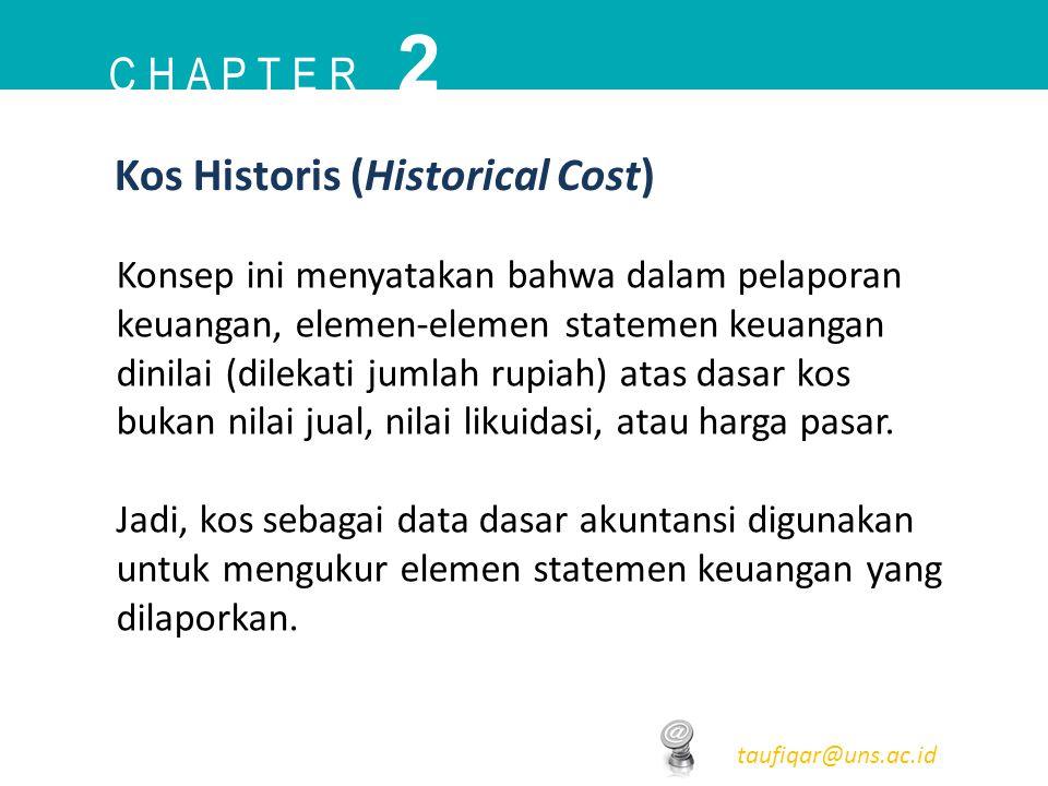C H A P T E R 2 taufiqar@uns.ac.id Kos Historis (Historical Cost) Konsep ini menyatakan bahwa dalam pelaporan keuangan, elemen-elemen statemen keuanga