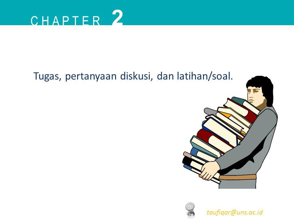 C H A P T E R 2 taufiqar@uns.ac.id Tugas, pertanyaan diskusi, dan latihan/soal.