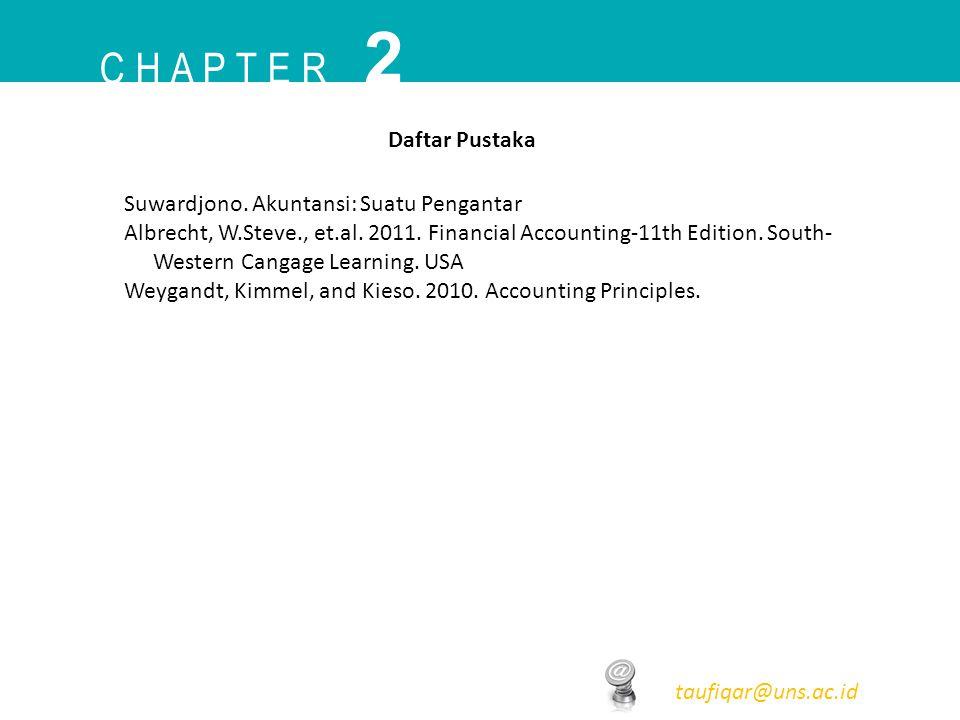 C H A P T E R 2 taufiqar@uns.ac.id Daftar Pustaka Suwardjono. Akuntansi: Suatu Pengantar Albrecht, W.Steve., et.al. 2011. Financial Accounting-11th Ed