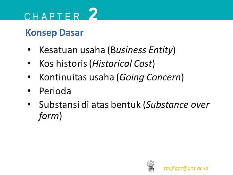 C H A P T E R 2 taufiqar@uns.ac.id Konsep Dasar Kesatuan usaha (Business Entity) Kos historis (Historical Cost) Kontinuitas usaha (Going Concern) Peri