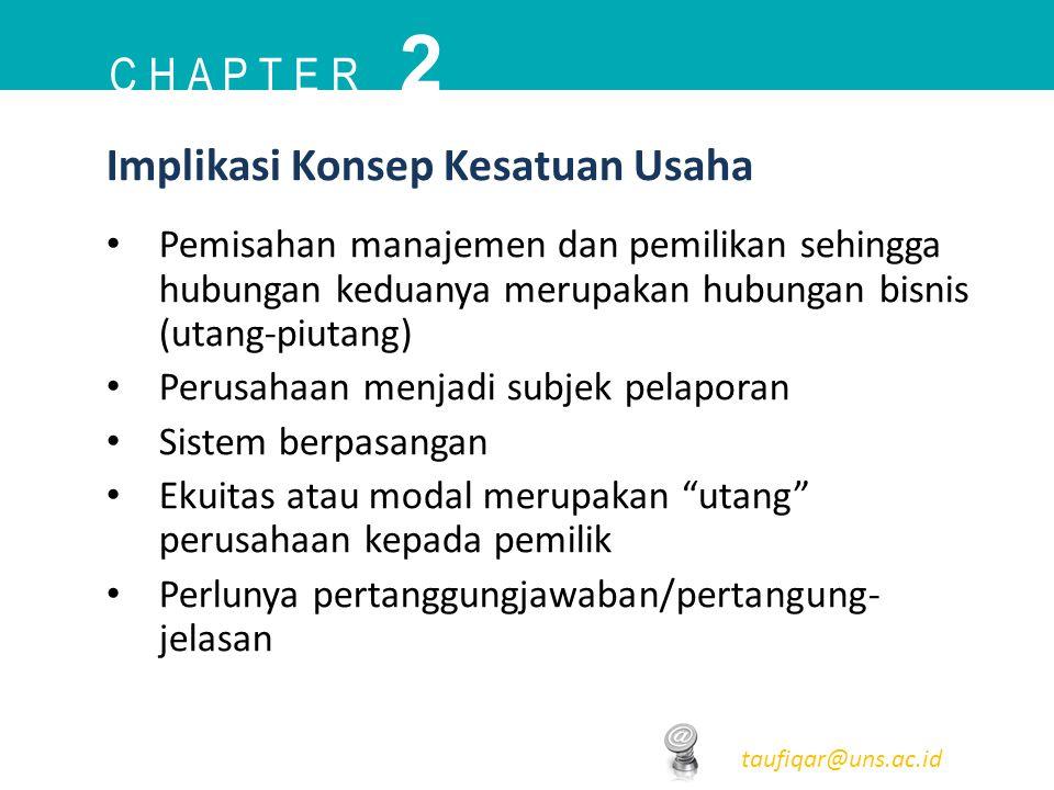 C H A P T E R 2 taufiqar@uns.ac.id Pemisahan manajemen dan pemilikan sehingga hubungan keduanya merupakan hubungan bisnis (utang-piutang) Perusahaan m