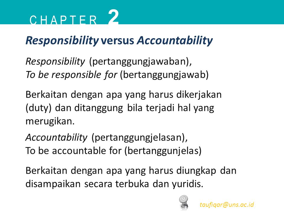 C H A P T E R 2 taufiqar@uns.ac.id Responsibility (pertanggungjawaban), To be responsible for (bertanggungjawab) Berkaitan dengan apa yang harus diker