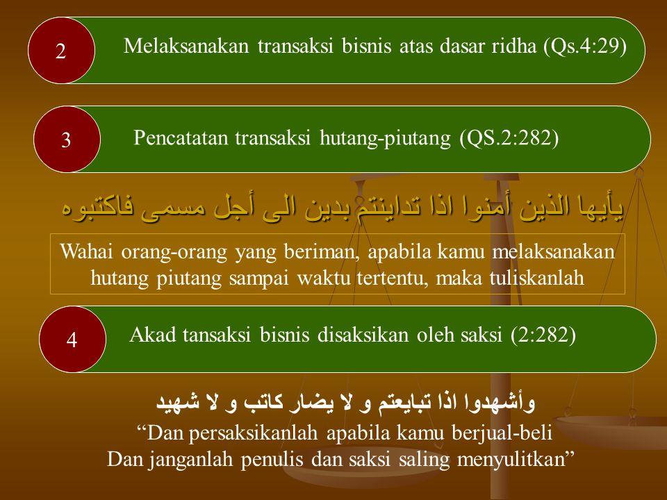 Hukum Muamalah dalam Al-Quran Allah Swt menjelaskan pokok-pokok muamalah kehartabendaan (muamalah maliyah) yang adil dalam Al-Quran Adapun prinsip mua