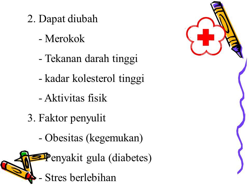 2.Dapat diubah - Merokok - Tekanan darah tinggi - kadar kolesterol tinggi - Aktivitas fisik 3.