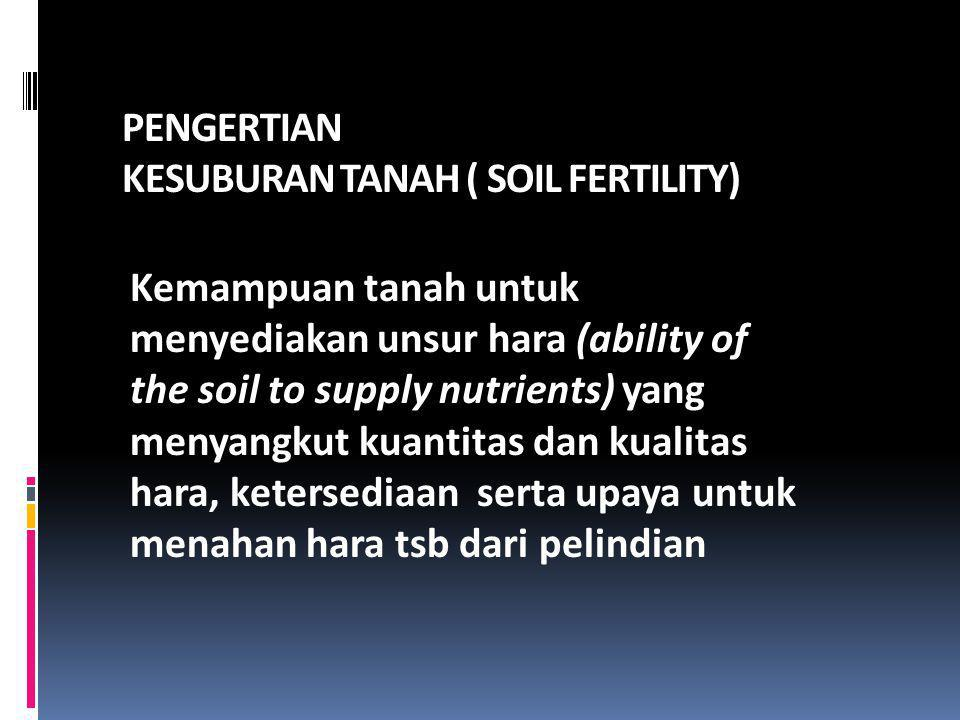 PENGERTIAN KESUBURAN TANAH ( SOIL FERTILITY) Kemampuan tanah untuk menyediakan unsur hara (ability of the soil to supply nutrients) yang menyangkut ku